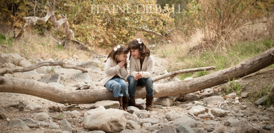two sweet sisters whisper to each other while sitting on a log in Placerita Caynyon State Park